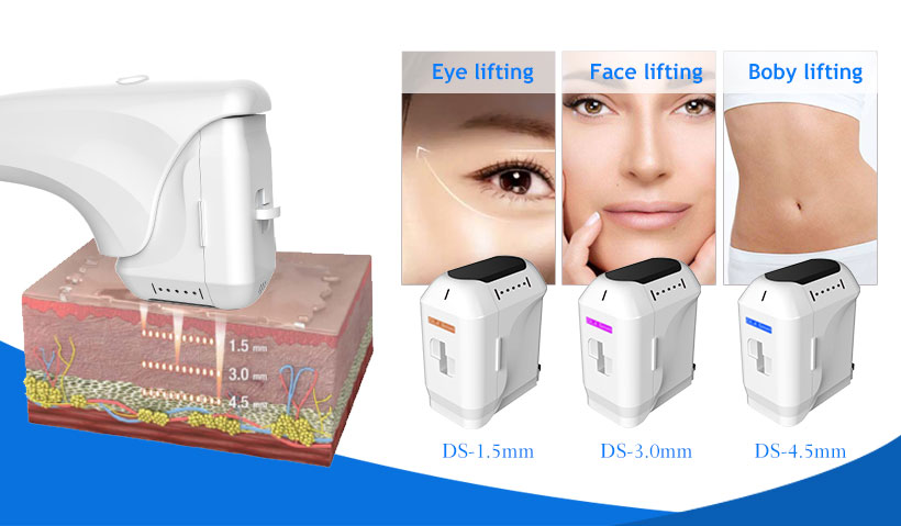 eyes face skin lifting 1.5 3.0 4.5 mm hifu machine
